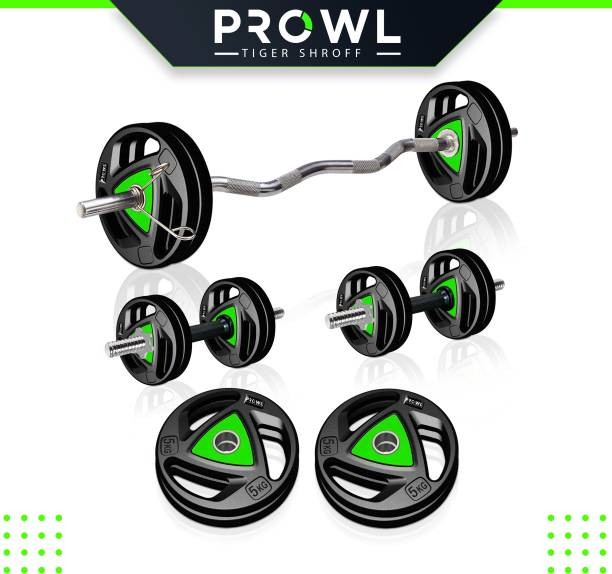 PROWL 20 kg Professional Metal Integrated Rubber Plates with One 3 Ft Curl and One Pair Dumbbell Rods Home Gym Combo