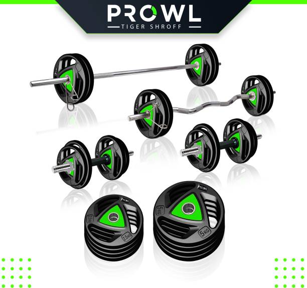 PROWL 30 kg Professional Metal Integrated Rubber Plates with One 3 Ft Curl + One 5 Ft Plain and One Pair Dumbbell Rods Home Gym Combo
