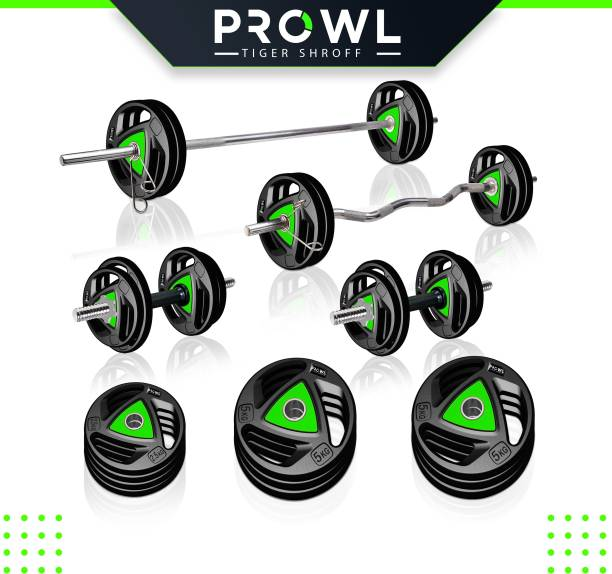 PROWL 40 kg Professional Metal Integrated Rubber Plates with 3 Ft Curl Rod + 5 Ft Plain Rod and One Pair Dumbbell Rods Home Gym Combo