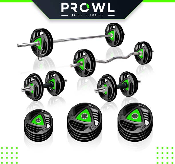 PROWL 50 kg Professional Metal Integrated Rubber Plates Home Gym Combo