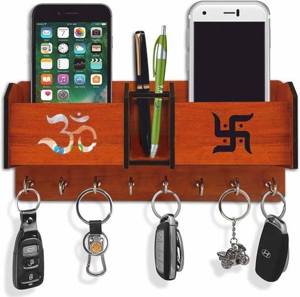 Arpita Crafts Wooden 2 Pocket Pen Stand Om Swastik 8 Hook Brown Wood Key Holder Wood Key Holder