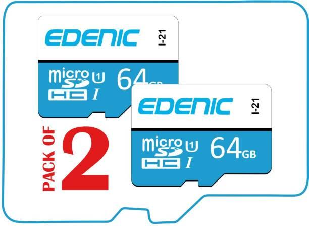 EDENIC 64GB Combo 64 GB MicroSD Card Class 10 80 MB/s  Memory Card