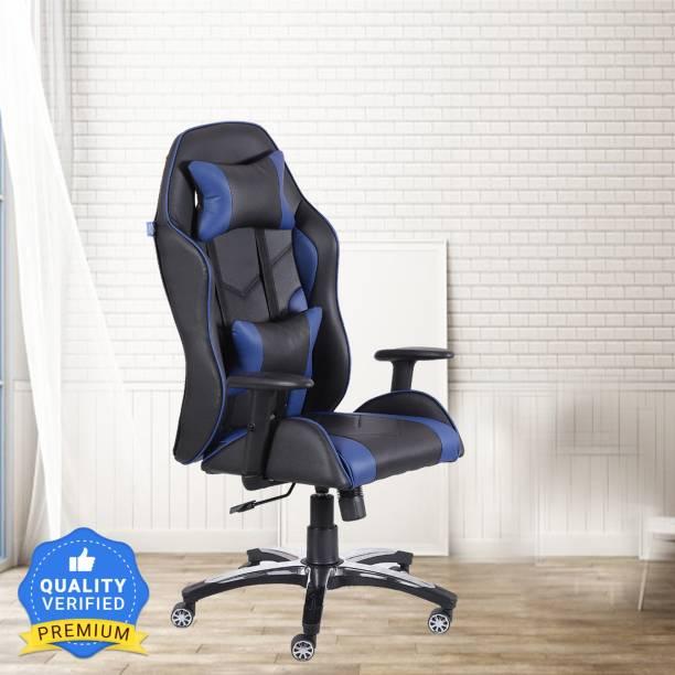 VJ Interior Recliner Strike Blue Leatherette Office Adjustable Arm Chair