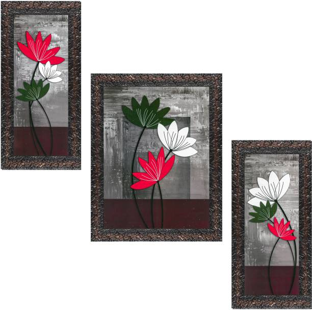 Indianara Set of 3 Multicolored Flowers Framed Art Painting (0927GBN) without glass(6 X 13, 10.2 X 13, 6 X 13 INCH) Digital Reprint 13 inch x 10.2 inch Painting