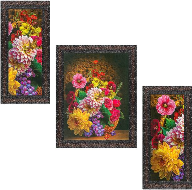 Indianara Set of 3 Colourful Flowers Framed Art Painting (3058GBN) without glass (6 X 13, 10.2 X 13, 6 X 13 INCH) Digital Reprint 13 inch x 10.2 inch Painting