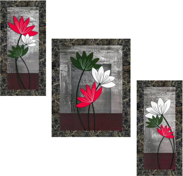 Indianara Set of 3 Multicolored Flowers Framed Art Painting (0927MGY) without glass(6 X 13, 10.2 X 13, 6 X 13 INCH) Digital Reprint 13 inch x 10.2 inch Painting