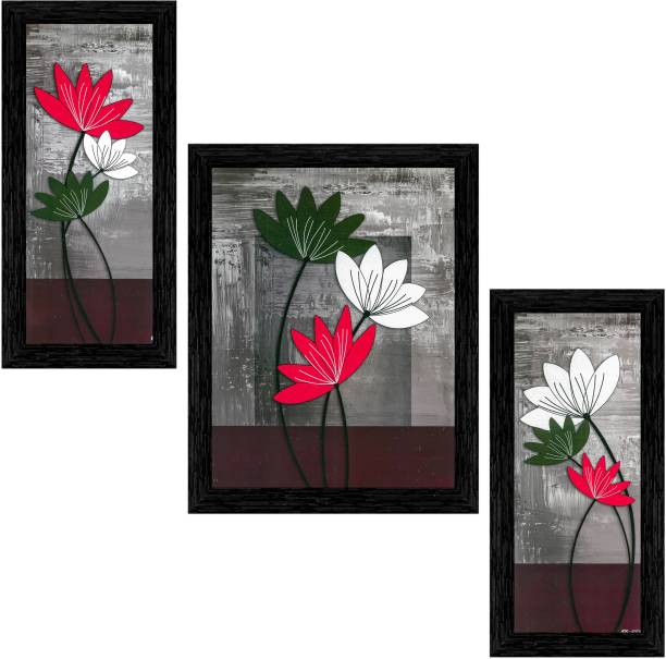 Indianara Set of 3 Multicolored Flowers Framed Art Painting (0927BK) without glass(6 X 13, 10.2 X 13, 6 X 13 INCH) Digital Reprint 13 inch x 10.2 inch Painting