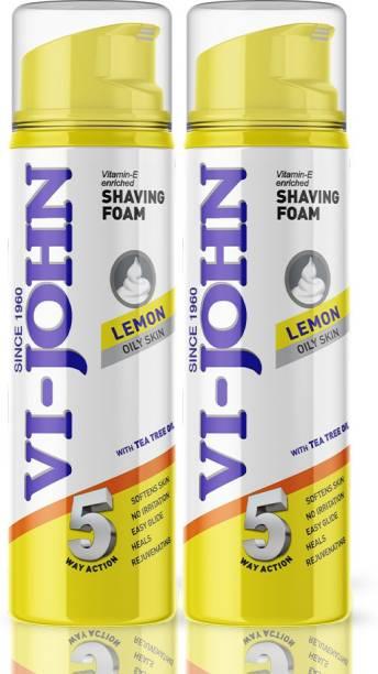 VI-JOHN Classic Lemon Shave Foam for Oily Skin with Tea Tree Oil (200 GM EACH) (PACK OF 2)