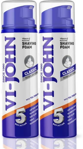 VI-JOHN Classic Shave Foam for Regular Skin with Tea Tree Oil (200 GM Each) (Pack of 2)