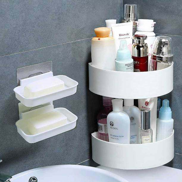 Qrex Pack Of 4 ABS Plastic Multiperurpose Home Kitchen Bathroom Accessories Traceless Self Adhesive Wall Mounted Triangle Corner Self And Soap Box Case Stick for Shampoo; Conditioner Shower Caddy Rack Shelf with Strong Adhesive Magic Sticker (2 Triangle Corner + 2 Soap Box case holder,WhiteColour)