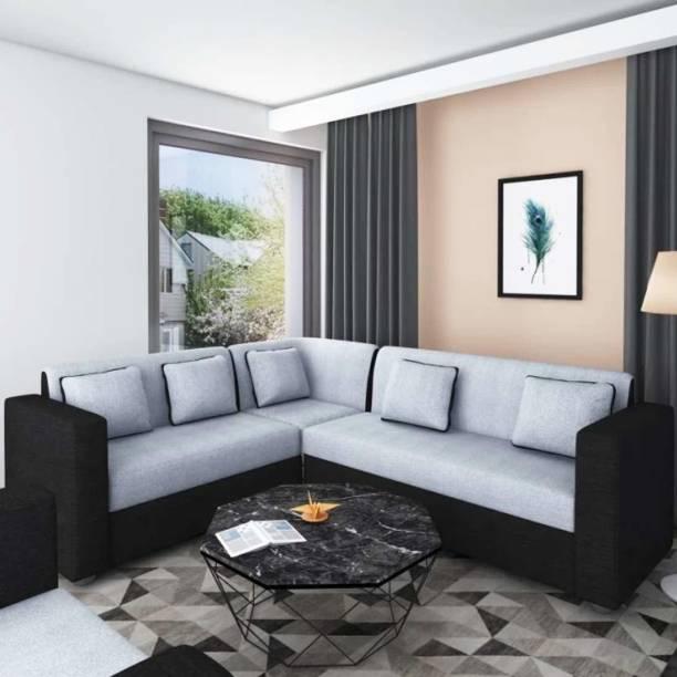 Woodcasa Superior L shape Corner Fabric 5 Seater  Sofa
