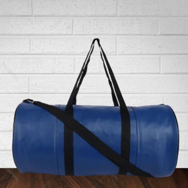 TRUE 2 F Soft Leather Duffle Gym Bag for Men / Women Workout Stylish Blue