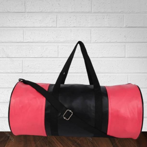 TRUE 2 F Pink Black Leather Gym Bag Men Women