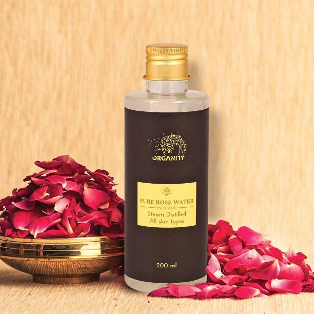 Organity Pure Rosewater/99.5% Pure/Steam Distilled Rosewater/Zero Fragrance Added/100% Sulphate,Silicone and Paraben Free/Facial Toner/Antioxidant Facial Water/All Skin Types/Instant Face Refresh/Anti-ageing Men & Women