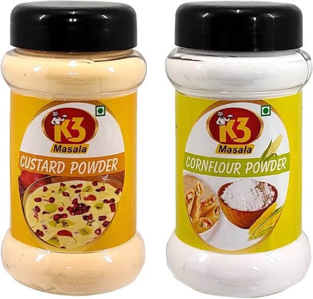 K3 Masala Custard Powder (100gm) & Cornflour Powder/Corn Strach/Ararot Powder/Makkai Powder (100gm).(Pack of 2) Custard Powder