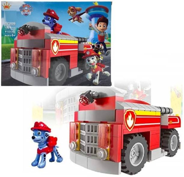 HALO NATION Mini Building Blocks QS08 Funny Dog Small Squad 196pcs Barking Team of Children's Puzzle Building Block Maarshal Vehicle Truck Block For Boys Girls Toys (47009) - Red