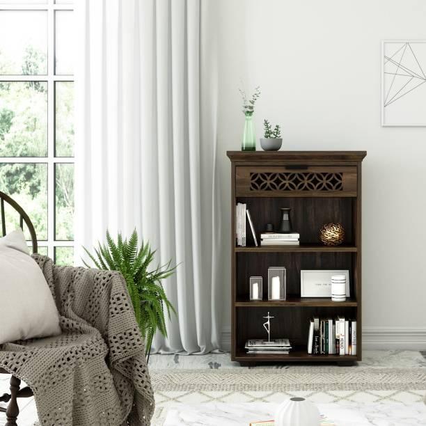 wopno Sheesham Book Shelf | Solid Wood Semi-Open Book Shelf
