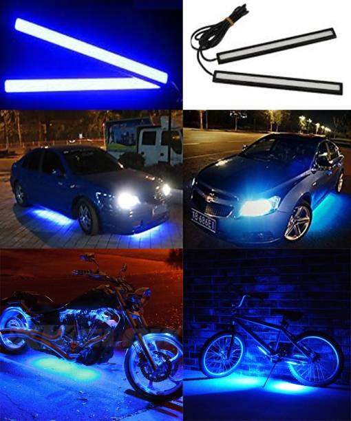 FABTEC New* (Pack of 2) Drl Blue Stick Light Aluminium Case Day Time Running Light Heacy Ulti Brightness Cob Led Flip Chip with ip 67 Certified For Intense Water Protection Unique Led UNIVERSAL FOR CARs & BIKEs Car Fancy Lights
