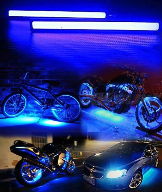CARZEX WaterProof New Day time Running Light LED Premium Ice Blue Ultra Bright COB LEds & High-Quality aluminium Housing. Car Fancy Lights