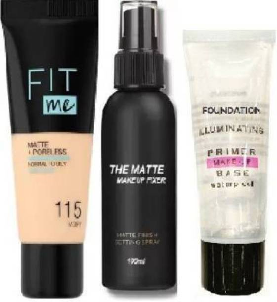 Frixion BEAUTY MATTE FINISH LONG LASTING MAKEUP COMBO, PRIMER, FIXER, ,FIT ME FOUNDATION FOR GIRLS AND WOMEN (3 Items in the set) Foundation