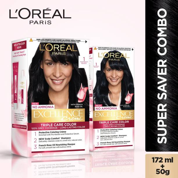 L'Oréal Paris Excellence Creme Hair Color (Combo Pack of 2 - 100g, 72 ml With 25g, 25 ml) , 1 Black