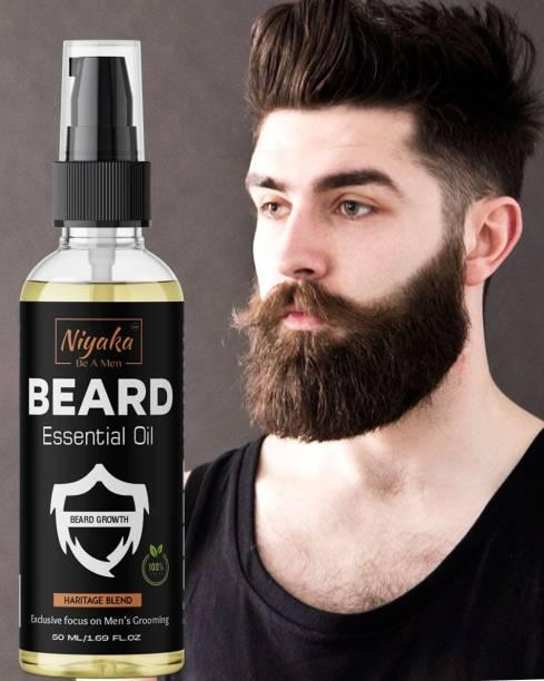 NIYAKA Beard Growth Oil Heritage blend - Beard Growth Oil for Patchy Beard growth, Nourishment & Moisturization, No Harmful Chemicals  Hair Oil