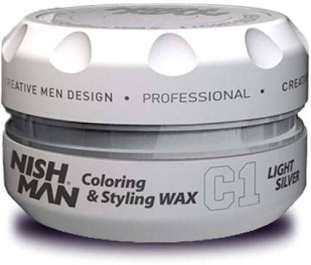 Nishman Temporary Color and Styling Wax- Light Silver Hair Wax