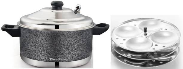 KLASSI KICHEN Stainless Steel Colored 3 plate Idli cooker 12 idlies Induction & Standard Idli Maker