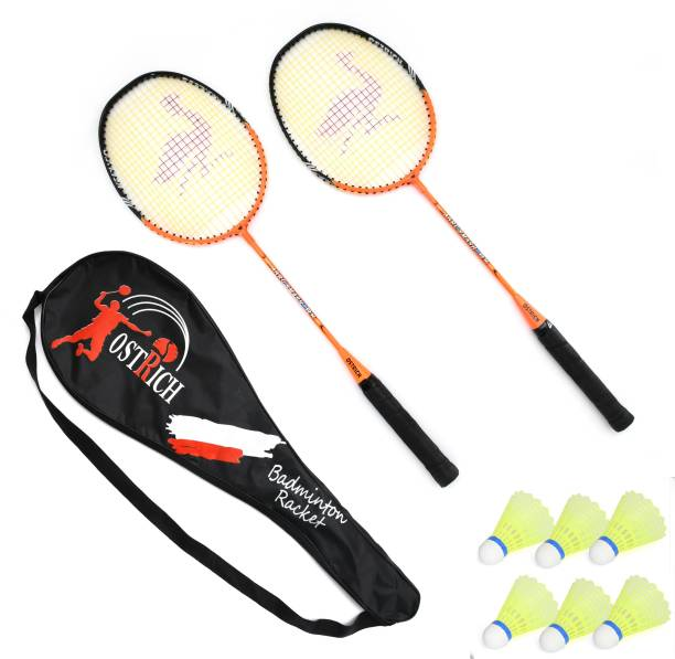 Ostrich AARU SMASH Aluminum Wide Body Badminton Racquet Pack Of 2 Piece With 6 Piece Plastic Shuttles And 1 Piece Attractive Cover Badminton Kit