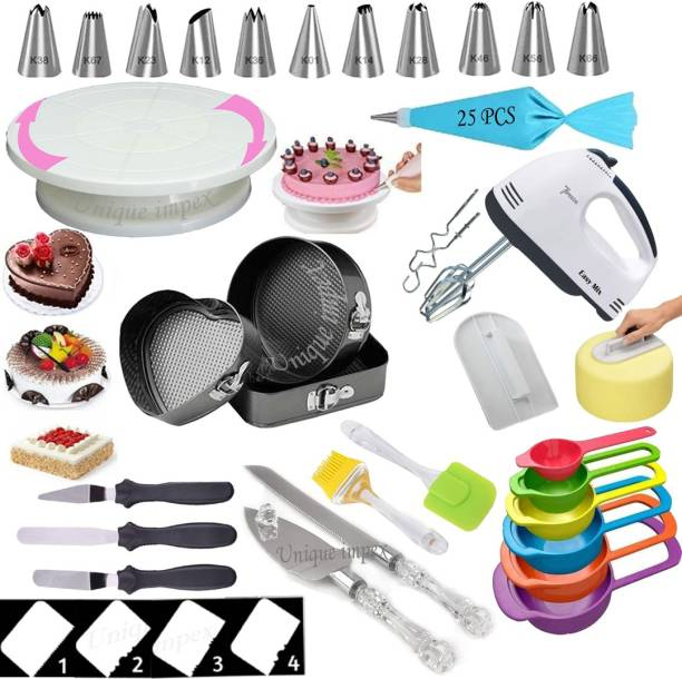 Unique Impex All In One cake making materials 3 Pcs Cake Moulds (Heart/Round/Square) + Cake Turn Table Stand + 12 Piece Cake Decorating Set With 25 Pcs disposable Piping Bag + 6 Pcs Measuring Cups + Silicone Spatula and Brush Set + 4 Pcs Scraper + Electric Hand biter + Stainless Steel Cake Cutting Knife and Server Set with Clear & transparent handle like Crystal + Cake Smoother + 3 Pcs Multi-Function Stainless Steel Cake Icing Spatula Knife Set (All Product Washable & Reusable) Multicolor Kitchen Tool Set