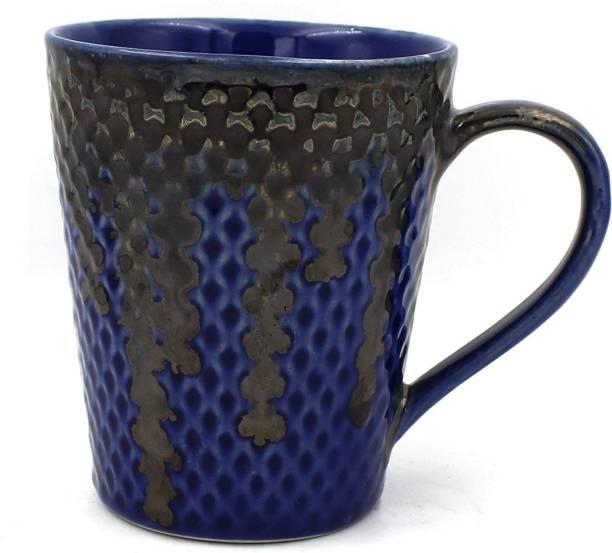purezento premium quality ceramic ocean tides indigo blue studio pottery with glossy finish and gift for your mom dad brother sister friend and multipurpose use like black tea green tea masala tea milk tea Ceramic Coffee Mug