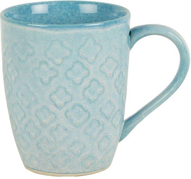 purezento premium quality ceramic sea blue studio pottery with glossy finish and gift for your mom dad brother sister friend and multipurpose use like black tea green tea masala tea milk tea Ceramic Coffee Mug