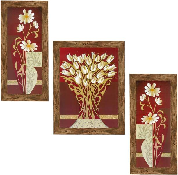 Indianara Set of 3 Modern Flowers Art Framed Art Painting (0995WNT) without glass (6 X 13, 10.2 X 13, 6 X 13 INCH) Digital Reprint 13 inch x 10.2 inch Painting
