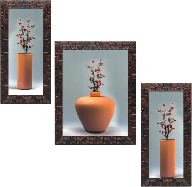 Indianara Set of 3 Flowers in Vases Framed Art Painting (1055GBNN) without glass (6 X 13, 10.2 X 13, 6 X 13 INCH) Digital Reprint 13 inch x 10.2 inch Painting