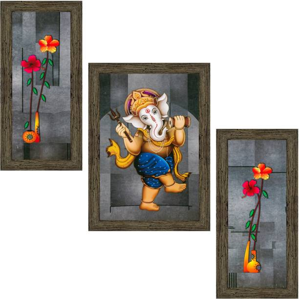 Indianara Set of 3 Ganesha With Flower Framed Art Painting (1164EBY) without glass (6 X 13, 10.2 X 13, 6 X 13 INCH) Digital Reprint 13 inch x 10.2 inch Painting