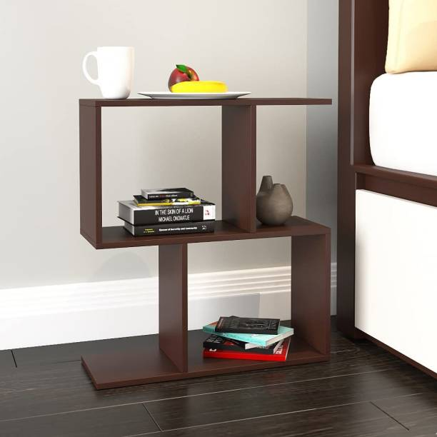 plantzy Plantzy Free Standing S-Shape Side Table/End Table/Elegant & Modern Style Table Decorations for Bedroom/Side Table for Office/Living Room/Entryway/Side Table for Multipurpose (24.2x5.8x24 in, Walnut) Engineered Wood End Table
