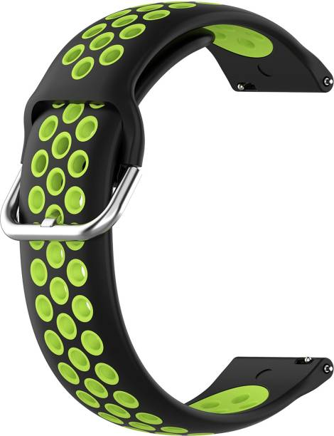 ACM WSM12C20BKG1904 Watch Strap Silicone Belt 20mm for Motorola Moto 360 (3rd Gen) ( Smartwatch Breatheable Dual Color Dot Band Black with Green) Smart Watch Strap
