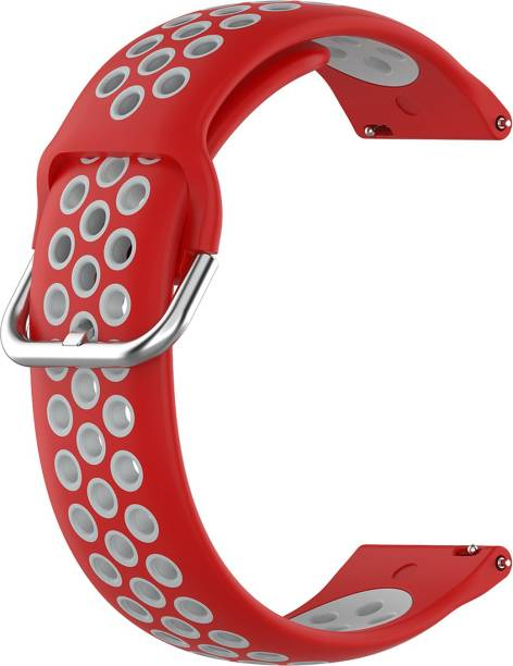 ACM WSM12C20RWT1904 Watch Strap Silicone Belt 20mm for Motorola Moto 360 (3rd Gen) ( Smartwatch Breatheable Dual Color Dot Band Red with White) Smart Watch Strap