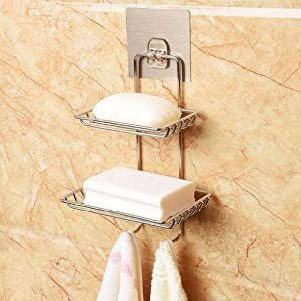 OnisHomes Wall Mounted Self-Adhesive Stainless Steel Double Layer soap Dish Holder Kitchen Bathroom Soaps Storage Rack with 2 Hook