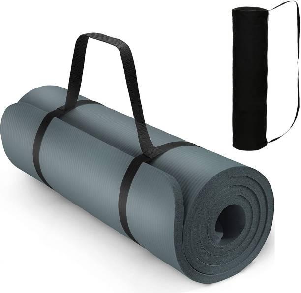 Gymfy 13 MM Grey Gym Workout and Flooring Exercise Yoga Mat for Men & Women Black 13 mm Yoga Mat