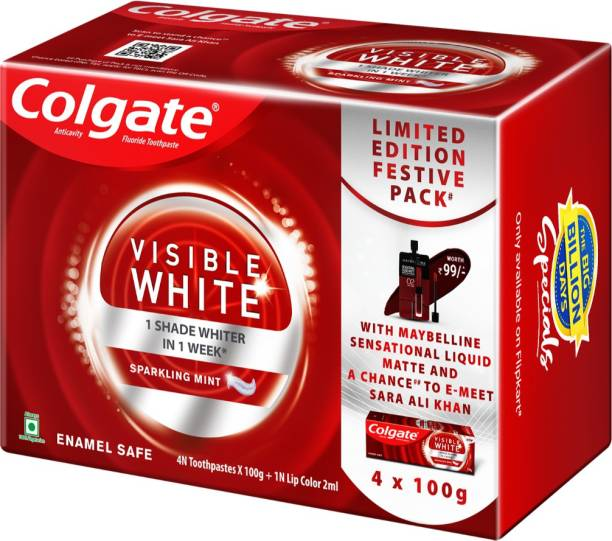 Colgate Visible White Teeth Whitening Toothpaste 400 gm, With Maybelline Sensational Liquid Matte Lipstick 2ml Toothpaste