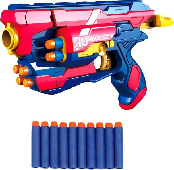 Miss & Chief Manual Blaze Storm Gun Blaster with 10 Foam Bullets for Kids Guns & Darts