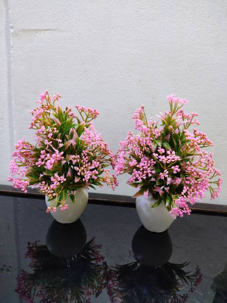 SAF Set of 2 small pink high quality plant with pot Bonsai Wild Artificial Plant  with Pot