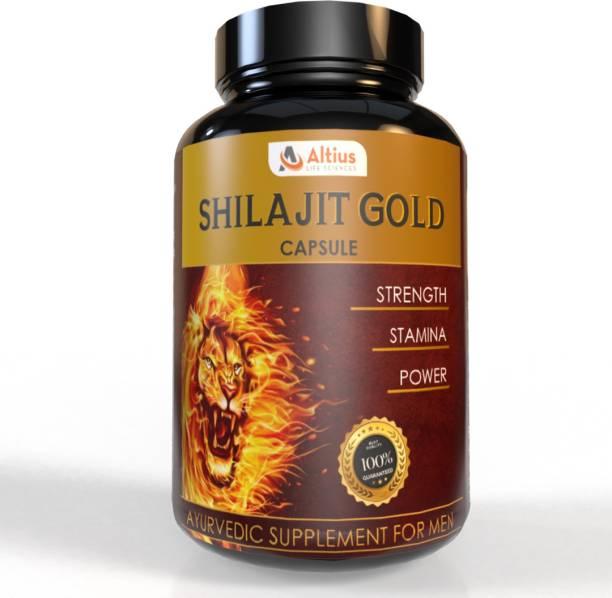 Altius Lifesciences Shilajit Gold Capsules Ayurvedic Real Shilajit for Power Stamina, Strength,Vigour and Health , Vitality , Muscle Building , & Boost Energy for Men & Women