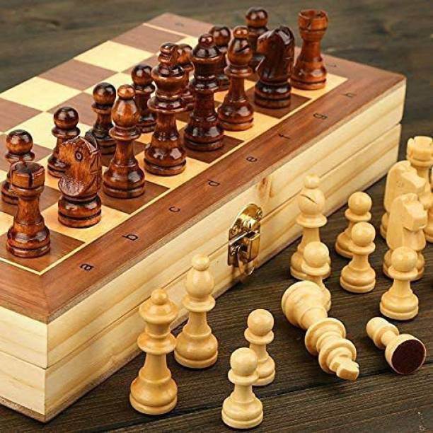 sports & fitness junction Wooden Box Chess Board With Wooden Chessmen Token Strategy & War Game Board Game 2 cm Chess Board