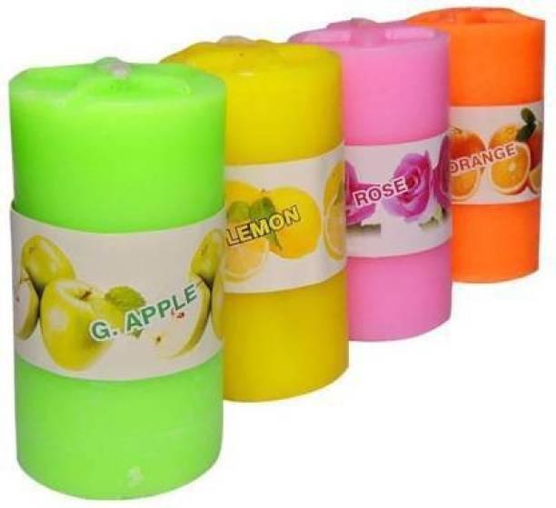 happy days Lemon,Rose,Green-Apple & Orange Scented Pillar Candle Candle