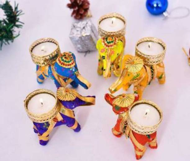 RHYTHM GIFT4U Tealight Holder, Candle Tealight, Candle Diya, Candle Stand, Candle for home Decor, Elephant Tealight Candle Holder for Home Decor Wooden 5 pcs Candle
