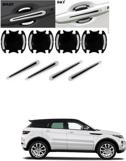 PECUNIA Car Door Handle Scratch Cover Sticker Protective Film Pad & Carbon Fiber Striation Bowl Decal Warning Sticker Reflective Strips (8PCS Silver) C37 Car Beading Roll For Bumper, Door