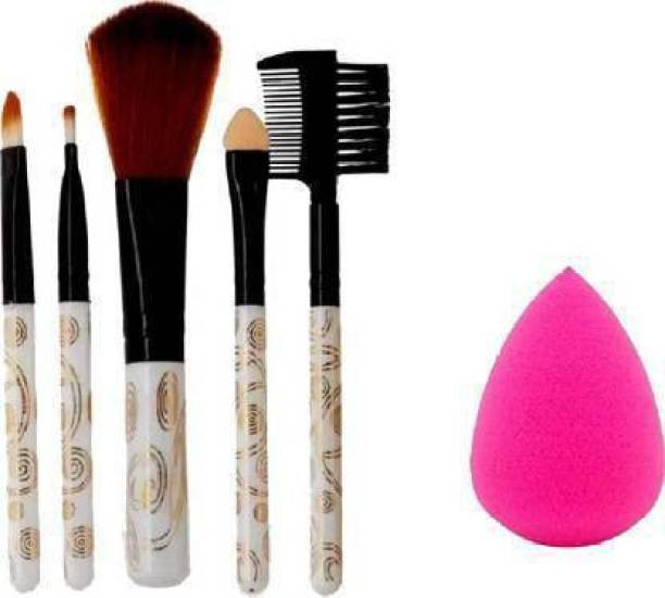 dubals 5pc Makeup Brush set with Blender Puff Combo (2 items in set)