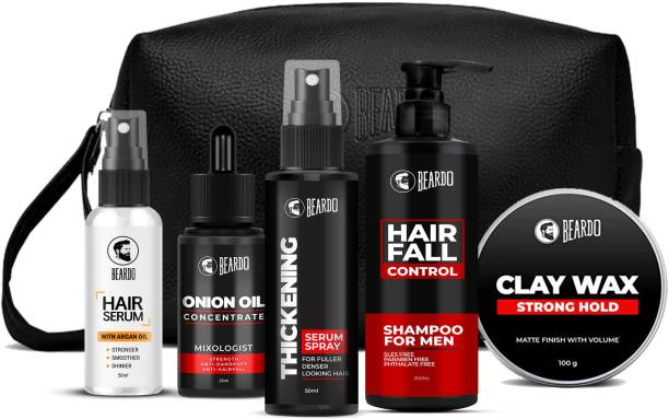 BEARDO Ultimate Hair Care Combo With Onion Oil & Clay Wax (Hair Serum,Onion Oil,Thickening Spray,HF Shampoo,SH Wax100 G & Pocuh